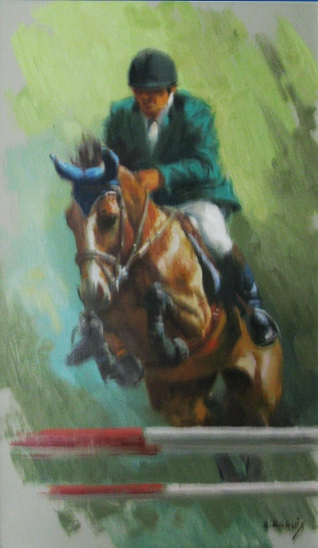 13.- Alfredo Enguix, Jinete saltando, Óleo sobre tabla, 41 x 24 cm